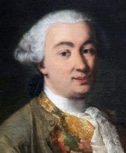 Alessandro Longhi - Ritratto di Carlo Goldoni (c 1757) Ca Goldoni Venezia - Close-up